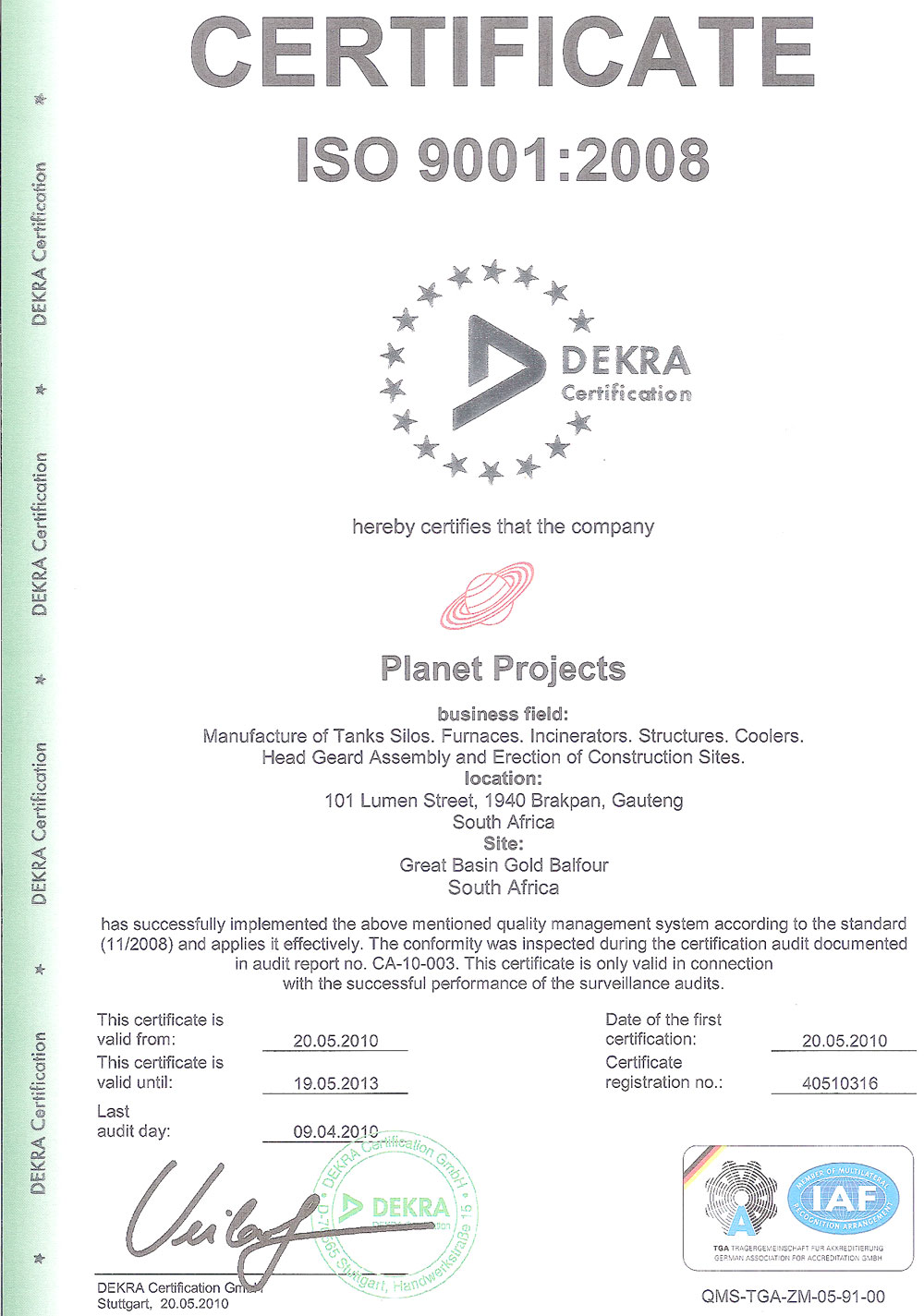 Planet projects certification iso 90012008 1betcityfo Gallery